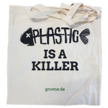 "Bio-Baumwolltasche ""Plastic is a killer"""