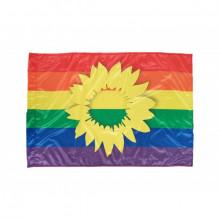 """CSD-Fahne """"Sonnenblume auf Regenbogenfarben"""""""