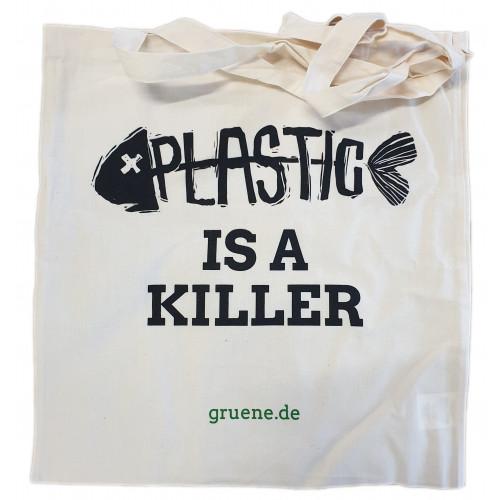 """Bio-Baumwolltasche """"Plastic is a killer"""""""
