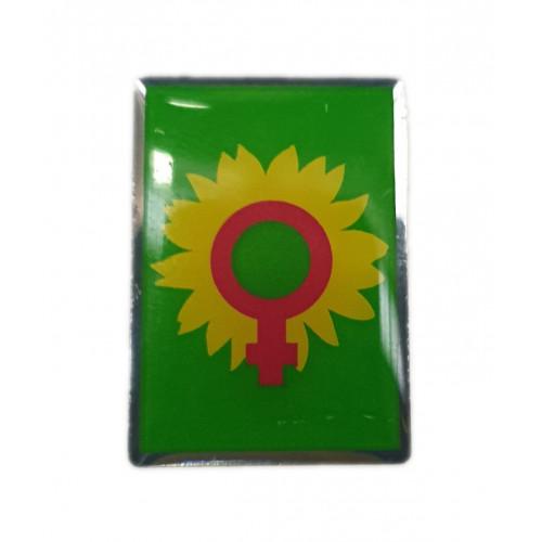 """Pin """"Frauen-Logo auf grünem Hintergrund"""""""